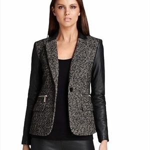 NWT Michael Kors Tweed Faux Leather Sleeve Blazer